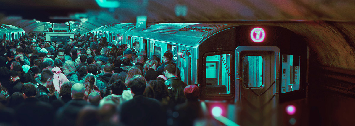 Photo of people boarding trains